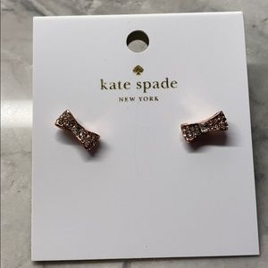 NWT Kate spade rose gold diamond bow stud earrings